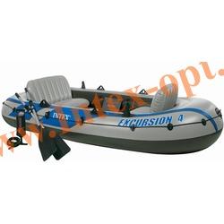 INTEX 68324 Четырёхместная надувная лодка Excursion-4 Set 315х165х43см (алюминиевые вёсла и ручной насос)