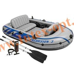 INTEX 68319 Трёхместная надувная лодка Excursion-3 Set 262х157х42см( алюминиевые вёсла и ручной насос насос)
