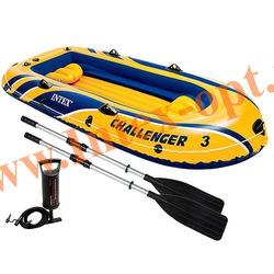 INTEX 68370 Трёхместная надувная лодка Challenger-3 Set 295х137х43см(алюминиевые вёсла и ручной насос)