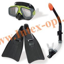 INTEX 55959 Набор для плавания Surf Rider Sports Set (маска,трубка,ласты 41-45 размер) от 8 лет