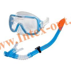 INTEX 55950 Маска и трубка для плавания Wave Rider Swim Set (от 8 лет)синий