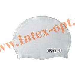 INTEX 55991 Силиконовая шапочка для плавания Silicone Swim Cap (от 8 лет)белая