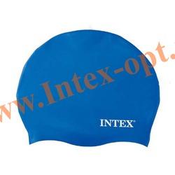 INTEX 55991 Силиконовая шапочка для плавания Silicone Swim Cap (от 8 лет)синяя