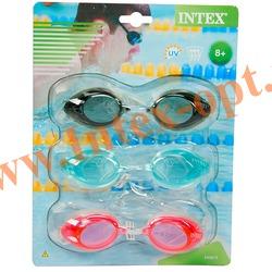 INTEX 55674 Упаковка очков для плавания Sport Goggles Tri-Pack , 3 шт., (розовый, чёрный, голубой) от 8 лет