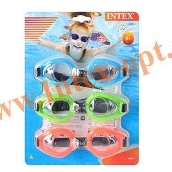 INTEX 55612 Упаковка очков для плавания Play Goggles Tri-Pack, 3 шт., (розовый, синий, зелёный)от 8 лет