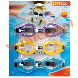 INTEX 55612 Упаковка очков для плавания Play Goggles Tri-Pack, 3 шт., (жёлтый, фиолетовый, голубой)от 8 лет