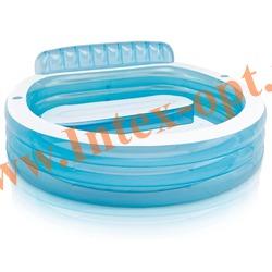 INTEX 57190 Надувной семейный бассейн с сиденьем Swim Center Family Lounge Pool 224х216х76см (от 3 лет)