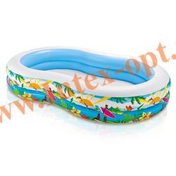INTEX 56490 Надувной семейный бассейн Солнечная лагуна Swim Center Paradise Seaside Pool 262х160х46 см(от 3 лет)