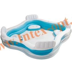 INTEX 56475 Надувной семейный бассейн с сиденьями Swim Center Family Lounge Pool 229х229х66 см (от 3 лет)