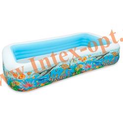 INTEX 58485 Надувной семейный бассейн Риф Swim Center Tropical Reef Family Pool 305х183х56 см(от 6 лет)