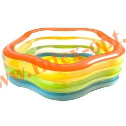 INTEX 56495 Надувной семейный бассейн с надувным полом Звезда Summer Colors Pool 185х180х53 см(от 3 лет)