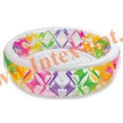 INTEX 56494 Надувной семейный бассейн с надувным полом Swim Center Pinwheel Pool 229х56 см(от 6 лет)