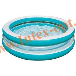 INTEX 57489 Надувной семейный бассейн Swim Center See-Through Round Pool 203х51 см(от 3 лет)