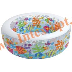 INTEX 58480 Надувной детский бассейн с надувным полом Аквариум Aquarium Pool 152х56 см (от 6 лет)