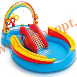 INTEX 57453 Надувной игровой центр-бассейн с горкой Радуга Rainbow Ring Play Center 297x193х135 см(от 2 лет)