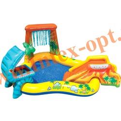 INTEX 57444 Надувной игровой центр-бассейн с водопадом и горкой Динозавр Dinosaur Play Center 249х191х109 см(от 2 лет)