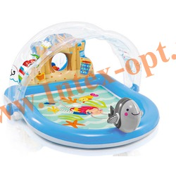 INTEX 57421 Надувной игровой центр-бассейн с фонтанчиком и тентом Летний пляж Sammer Lovin Beach Play Pool 170х150х81 см(от 2 лет)