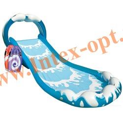 INTEX 57469 Надувной игровой центр-бассейн с горкой Серфинг Surf n Slide 442х168х163 см(от 6 лет)