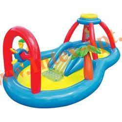 INTEX 57449 Надувной игровой центр-бассейн с фонтанчиком и горкой Windmill Blow Spray Play Center 295x193х107 см(от 3 лет)
