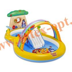 INTEX 57136 Детский надувной игровой центр-бассейн с горкой и фонтанчиками Винни ПУХ 282x173х107 см(от 3 лет)