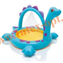 INTEX 57437 Надувной детский бассейн с фонтанчиком Динозаврик Dino Spray Pool 229х165х117 см(от 2 лет)