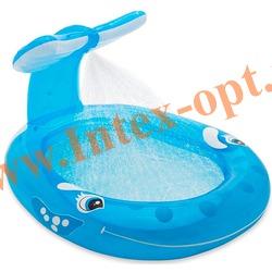 INTEX 57435 Надувной детский бассейн с фонтанчиком Кит Whale Spray Pool 208х157х99 см(от 2 лет)