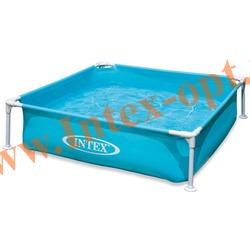 INTEX 57173 Детский сборно-разборный бассейн с металлическим каркасом Mini Frame Pool 122х122х30 см(синий)