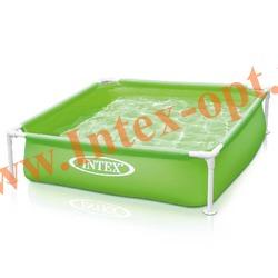 INTEX 57172 Детский сборно-разборный бассейн с металлическим каркасом Mini Frame Pool 122х122х30 см(зелёный)