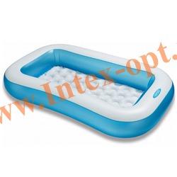 INTEX 57403 Надувной детский бассейн-ванна с надувным дном Rectangular Pool 166х100х28 см(от 2 лет)