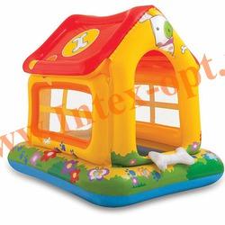 INTEX 57429 Надувной детский бассейн с навесом и надувным полом Домик Puppy Love Pool 142х117х122 см(от 1 до 3 лет)