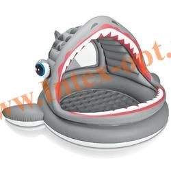 INTEX 57120 Надувной детский бассейн с навесом и надувным полом Акула Roarin Shark Shade Pool 201х198х109 см(от 2 лет)