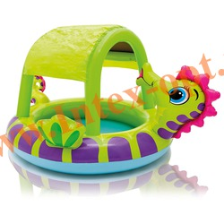 INTEX 57110 Надувной детский бассейн с навесом Seahorse Pool 188х147х104 см(от 2 лет)