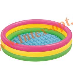 INTEX 57422 Надувной детский бассейн с надувным полом Радуга Sunset Glow Pool 147х33 см(от 2 лет)
