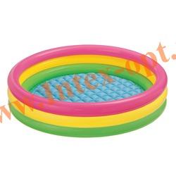 INTEX 57412 Надувной детский бассейн с надувным полом Радуга Sunset Glow Pool 114х25 см(от 2 лет)