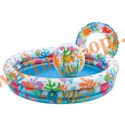 INTEX 59469 Надувной детский бассейн с мячом и кругом Fishbowl Pool Set 132х28 см(от 2 лет)