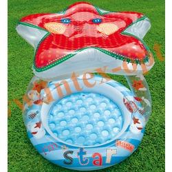 INTEX 57428 Надувной детский бассейн с навесом и надувным полом Звезда Lil Star Shade Baby Pool 102х86 см(от 1 до 3 лет)