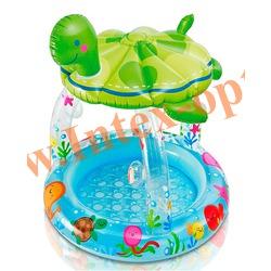 INTEX 57119 Надувной детский бассейн с навесом и надувным полом Sea Turtle Shade Baby Pool 102х107 см(от 1 до 3 лет)