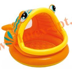 INTEX 57109 Надувной детский бассейн с навесом и надувным полом Lazy Fish Shade Baby Pool 124х109х71 см(от 1 до 3 лет)