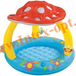 INTEX 57407 Надувной детский бассейн с навесом и надувным полом Грибок Mushroom Baby Pool 102х89 см(от 1 до 3 лет)