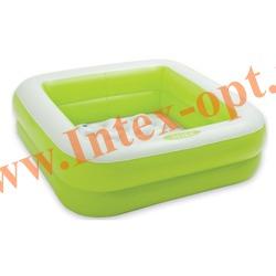 INTEX 57100 Надувной детский бассейн с надувным полом Play Box Pool 85х85х23 см(от 1 до 3 лет, салатовый)