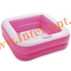 INTEX 57100 Надувной детский бассейн с надувным полом Play Box Pool 85х85х23 см(от 1 до 3 лет, розовый)