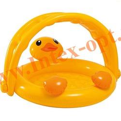 INTEX 57121 Надувной детский бассейн с навесом и надувным полом Утёнок Ducky Friend Baby Pool 117x112х69 см(от 1 до 3 лет)