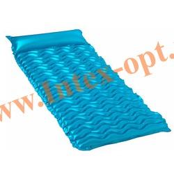 INTEX 58807 Матрас надувной с подголовником для плавания Tote-n-Float Wave Mats (229 х 86 см)без насоса