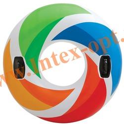 INTEX 58202 Круг надувной для плавания с ручками Color Whirl Tube Ø 122 см (от 9 лет)без насоса