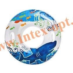 INTEX 58263 Надувной круг для плавания с ручками Transparent Tubes Ø 97 см(от 9 лет)без насоса