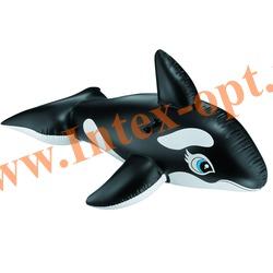 INTEX 58561 Надувная гигантская касатка для игр на воде Whale Ride-On 193х119 см(от 3 лет)без насоса