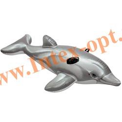 INTEX 58539 Надувной гигантский дельфин для игр на воде Dolphin Ride-On 201х76 см(от 3 лет)без насоса