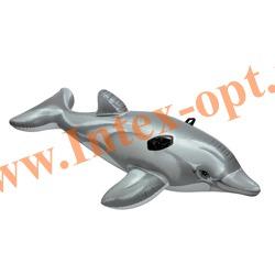 INTEX 58535 Надувной дельфин для игр на воде Lil Dolphin Ride-On 175х66 см(от 3 лет)без насоса