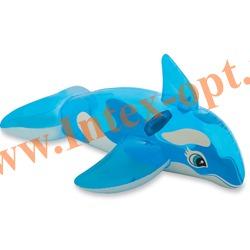 INTEX 58523 Надувная касатка для игр на воде Lil Whale Ride-On 163х76 см(от 3 лет)без насоса