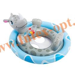 INTEX 59570 Надувной круг с трусиками Носорог See Me Sit Pool Rider 77х58 см (от 3 до 4 лет)без насоса